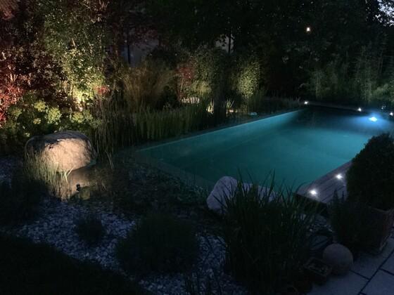 Teich bei Nacht ohne Blitz