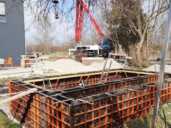 Einsatz der Beton Pumpe